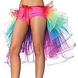 NHSUNRAY Women Girls Dancing Tutu Skirt Layered Organza Lace Rainbow Bustle Skirt Ruffle Tiered Clubwear,Multi-Color One Size