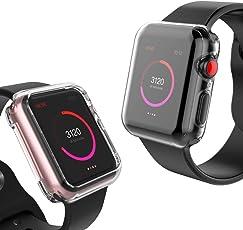 【2個セット】BRG コンパチブル apple watch ケース,全面保護ケースと周り保護ケースセットコンパチブル apple watch series 4だけに対応 コンパチブルapple watch カバー TPU 耐衝撃性 高感度 コンパチブル アップルウォッチ カバー 精密操作 アップルウォッチケース (44mm,クリア)