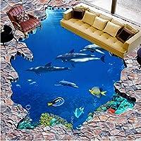 Lixiaoer 3D立体海の世界のイルカの梯子の床の絵画防水は床の壁の壁画を厚くします-120X100Cm