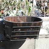 ウィンドウボックスホルダー サイズフリー バイス式(ブラック)と焼杉プランター:小判(小) ノーブランド品
