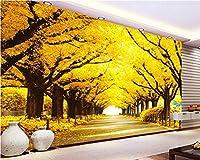 壁のための壁紙の壁画の壁紙3 d黄色の葉トンネル家の装飾の背景リビングルームの寝室のテレビ壁画の3D壁紙-200x300cm
