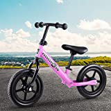 12 Inch Ultra Lightweight and Portable Kids Balance Bike Puch Bicycles Wheels Toddler Outdoor (Pink)