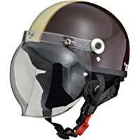 リード工業 バイクヘルメット ジェット CROSS バブルシールド付き ブラウン アイボリー CR-760 -