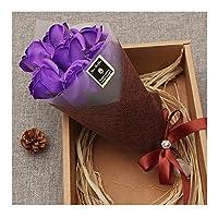 ソープフラワー 薔薇 7輪の花 高級感なケースで包装 好きな人に送り 母の日 香り花 バラ 造花 花束 薔薇 枯れない 花束 結婚祝い 誕生日 定年祝い 還暦祝い 新築祝い 送別会(パープル)