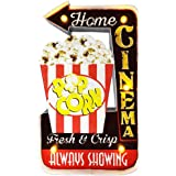 Popcorn Sign, LED Vintage Popcorn Decor Snacks Sign Wall Hanging Metal Handmade Marquee Embossed Tin Decor, Industrial Style