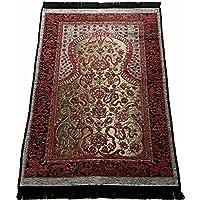 お祈りマット トルコ製 シェニール ムスリム礼拝用マット 礼拝用敷物(E) (赤)