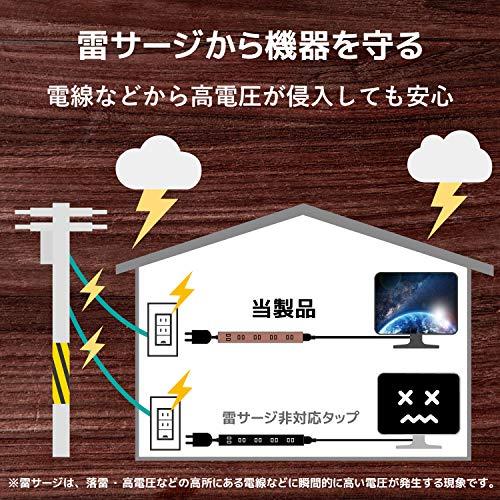 『エレコム 電源タップ 雷ガード 6個口 木目調 3m ウォルナット材 ECT-0203W』の6枚目の画像