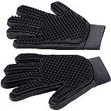 [Upgrade Version] Pet Grooming Glove - Gentle Deshedding Brush Glove - Efficient Pet Hair Remover Mitt - Enhanced Five Finger