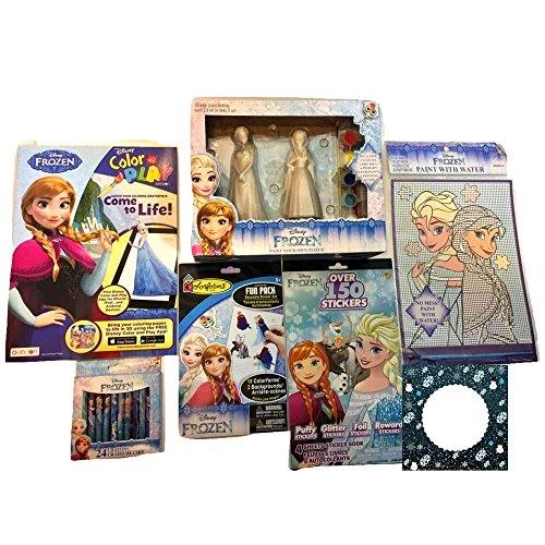 Disney 's Frozen 7(セブン) Piece Funアート&クラフトバンドル:ペイントYour Own Statue ( Anna and Elsa、Bendonカラーリングブックwith 24クレヨンパック、2( 2)ステッカーブックand Mess Freeペイントwith水キット