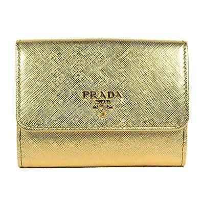 1c5a2b011d58 [プラダ]PRADA SAFFIANO METAL レディース 二つ折り財布 PLATINO ゴールド 1MH523_QWA_F0522 [並行輸入
