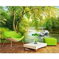 Ljjlm カスタマイズ3D壁画壁紙北欧スタイルの森白鳥の湖油絵テレビの背景壁の壁紙3 D-420X280cm