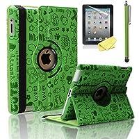 Zeox iPad 2/ 3/ 4ケース–360度回転スタンドスマートケース(かわいい緑)カバーfor Ipad with Retina Display ( iPad第4世代)、新しいiPad 3& iPad 2自動ウェイク/スリープ機能)–キュートグリーン