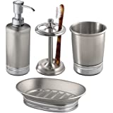 mDesign 4-Piece Metal Bath Accessories Set, Soap Dispenser, Tootbrush Holder, Tumbler, Soap Dish - Split Finish
