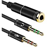 TERSELY 3.5mm Headset Earphone Splitter, Headphone Jack Adapter 2 Male to Female Y Splitter Adapter Cable with Separate Micro