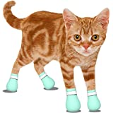 Cat Anti-Scratch Shoes Boots Cover - Pet Caring Adjustable Soft Safe Baby Green Silica Gel Cat Paw Protector for Bathing,Barb