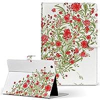 igcase d-01J dtab Compact Huawei ファーウェイ タブレット 手帳型 タブレットケース タブレットカバー カバー レザー ケース 手帳タイプ フリップ ダイアリー 二つ折り 直接貼り付けタイプ 009411 フラワー ハート 赤