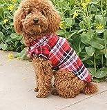 FUNMAKE(ファンメイク) ドッグウェア 愛犬用 ペット 服 チェック柄 ボタン シャツ レッド&グリーン 2色 おしゃれで かわいい サングラス型 ヘアクリップ セット (XSサイズ)