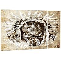 DesignArt American Indian Head Tattoo Sketch Portraitメタルウォールアート–mt7806 48x28 MT7806-271