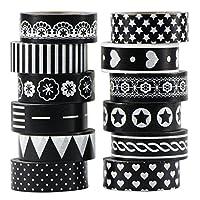 UOOOM 12巻入 マスキングテープ 和紙マスキングテープ カラフルマスキングテープ バリエーション豊富 デコレーション用 ノート・アルバム・小物作りDIYなど各シーンで活用可 さらにラッピングのマストアイテム (12x 黒と白のデザイン)