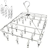 NILWL Drying Rack with 30 Clips, Folding Stainless Steel Clothes Drying Rack, Hanging for Socks, Bras, Lingerie, Clothes(Rect