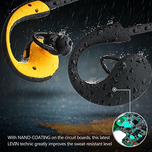 『LEVIN Bluetooth4.1 イヤホン 防水&防汗(IP66防水等級) 高音質 スポーツ仕様 ワイヤレスヘッドフォン (オレンジ&ブラック)』の1枚目の画像