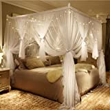 Nattey 4 Corner Poster Princess Bed Curtain Canopy Mosquito Net for Girls Boys Adults - 4 Opening - Bedroom Decoration (Full,