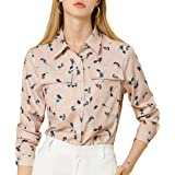 Allegra K Women's Geometric Print Button Down Long Sleeves Floral Shirt