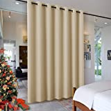 RYB HOME Wall Divider Curtain for Living Room, Noise Reduction Privacy Curtain with Anti-Rust Grommet Top Blackout Curtain fo