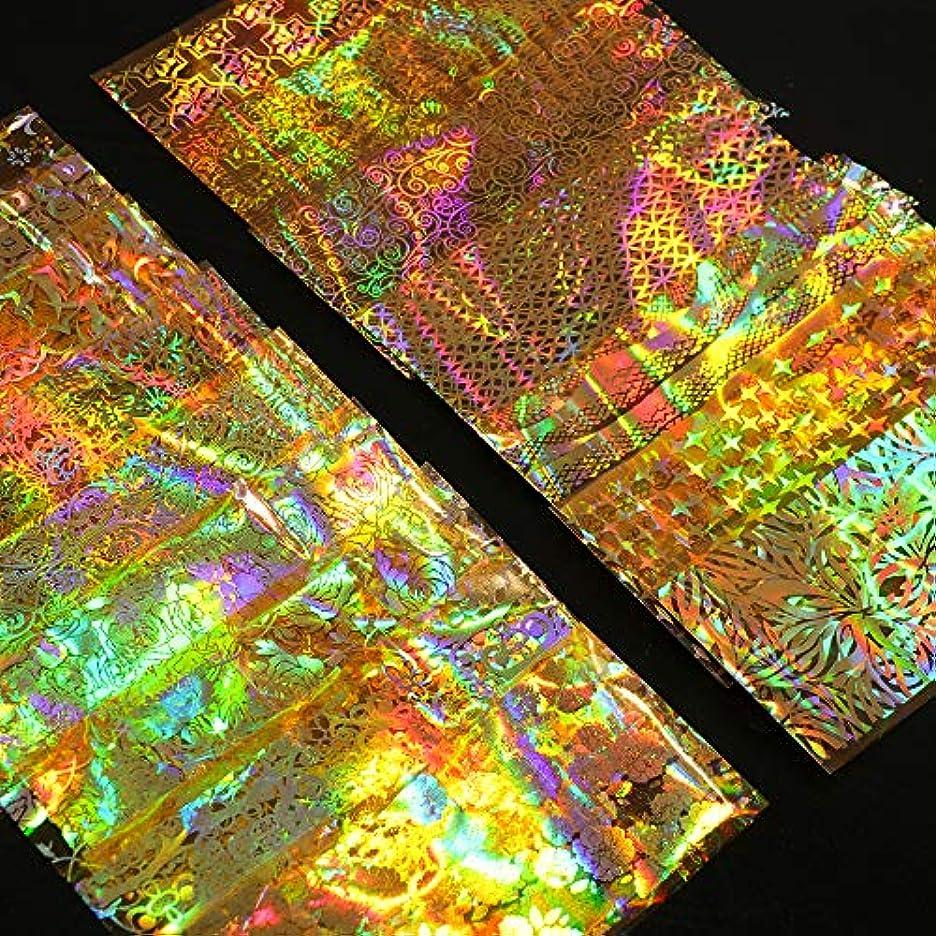 虎バスルーム宙返りSUKTI&XIAO ネイルステッカー 16ピースホログラフィックフォイルネイルスライダーアートステッカーゴールドフラワー星空デカールdiyラップマニキュアネイルデコレーション接着剤