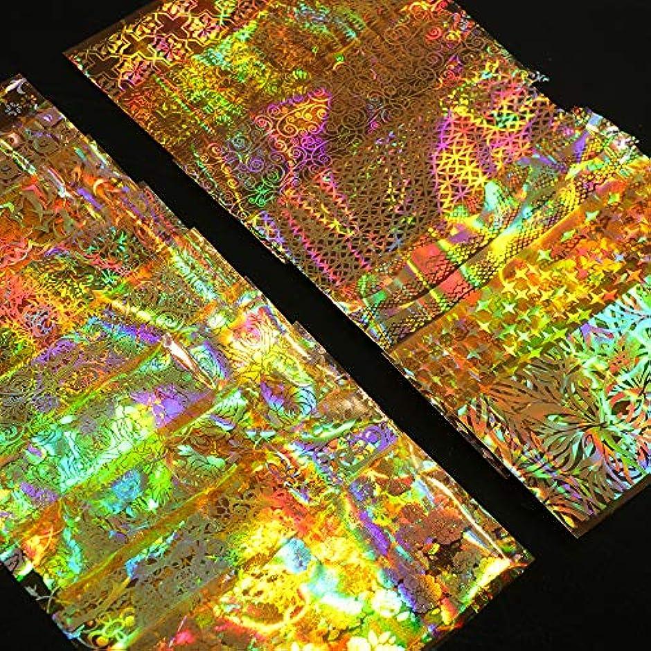 クローン散文着実にSUKTI&XIAO ネイルステッカー 16ピースホログラフィックフォイルネイルスライダーアートステッカーゴールドフラワー星空デカールdiyラップマニキュアネイルデコレーション接着剤