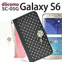 全面 ラインストーン の ★ 激カワ ★ モデル! docomo Galaxy S6 ( ギャラクシー S6 ) SC-05G 対応 カメリア スワロ 手帳 型 ケース 【 全5色 】 ( ブラック )