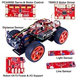 SunFounder Raspberry Pi Smart Robot Car Kit スマートロボットカーキット - PiCar-S GUI プログラミングライン、センサーライト追従モジュール [並行輸入品]