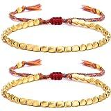 BOMAIL Tibetan Copper Bead Bracelets- Handmade Braided Bracelets Adjustable Lucky Rope Bracelet Friendship Bracelet for Women