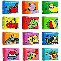 ZhenyuブックQuietブック布ベビーソフトブックキュート動物フルーツ番号布ブック幼児教育玩具の男の子と女の子Touch and Feelアクティビティ12pcs