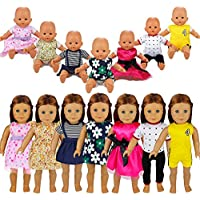 Barwa 7 Sets American Girl Clothes Outfits Fancy Summer Dress Clothing for 46cm American Girl Doll