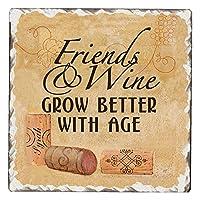 CounterArt Single Tumbledタイル吸収性コースター、友達とワインGrow Better With Age