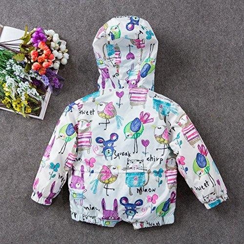 HYSENM 子供用 通園 通学 レインコート 防風 防雨 ジャケット 帽子付き かわいい オリジナル ウインドブレーカー 丈夫 手洗い アウトドア 屋外 トラベル 登山 五サイズあり ホワイト 110cm