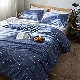 綿花世界 北欧風・シンプルな星座図案コットン掛け布団かばー ボックスシーツ 枕カバー 子供も安心使用マットレスカバー 3点セット