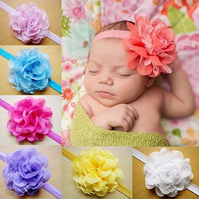 Vktechベビー キッズ 赤ちゃん カチューシャ ヘアアクセサリー ヘアバンド ヘッドバンド 大きいフラワー 花 髪飾り  出産祝い 結婚式 プレゼント ギフト  かわいい 10個 セット