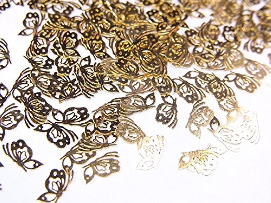 ミサイルきしむに付ける【jewel】薄型ネイルパーツ ゴールド 蝶蝶10個
