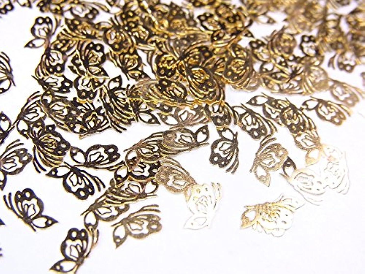 ずらす効率的全く【jewel】薄型ネイルパーツ ゴールド 蝶蝶10個