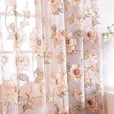 Top Finel レースカーテン UVカット 花柄 幅100x丈178cm 2枚組 ブラウン (全7サイズ2色)