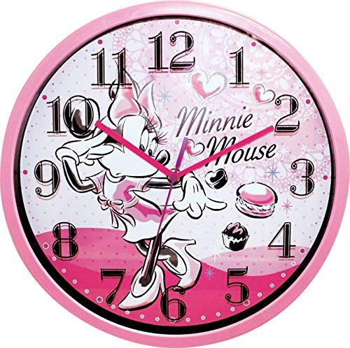ディズニー 壁掛け時計 レイヤーウォールクロック アナログ表示 連続秒針 ミニーマウス ピンク 736638
