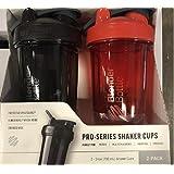 BlenderBottle Pro Series Shaker Bottle BlenderBall Rounded Base with SpoutGuard, 24 Ounce, 2-Pack (Black - Orange)