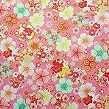 【定番 綿ちりめん風(エンボス)和柄・和調プリント】金粉桜花満開 4色あります 1m単位で切り売りいたします (桃)