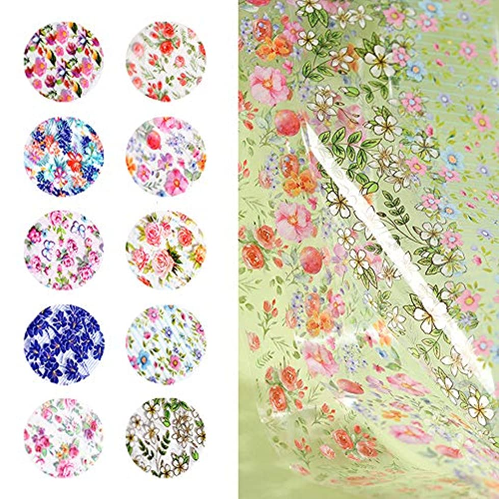 10枚セット お花/ボヘミア風星空ネイルホイル 転写シート アルミホイールジェルネイル ネイルパーツネイルアート (1-10)