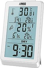 AMIR デジタル 湿度計 温度計 最高最低温湿度/時間/温度傾向図表示 アラームタイム/バックライト機能あり 置き掛け両用タイプ 白色