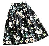 (アリルチョウ) スカート ひざ丈 フレア プリーツ 花柄 きれいめ ハイウエスト レディース 黒 ブラック