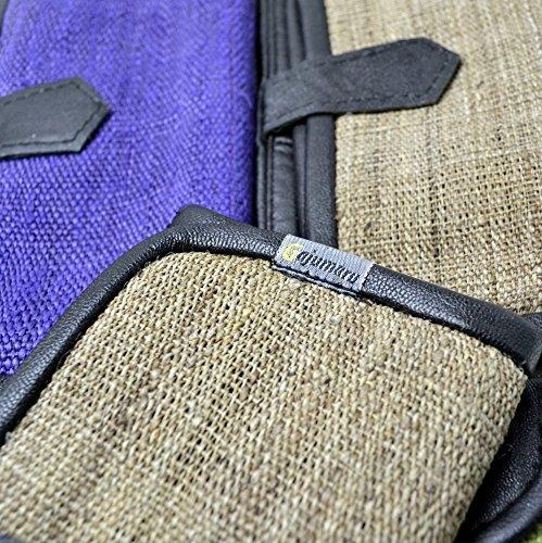 【国内送料無Free】ヘンプレザーPV 二つ折り財布 手織ヘンプ 大麻布 ポケット5つ