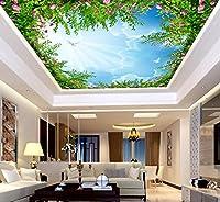 Sproud 青い空室のベッドルームシルク布 3 D 天井の風景壁紙 350 Cmx 245 Cm の生活のためにと、白い雲の空天井の壁画